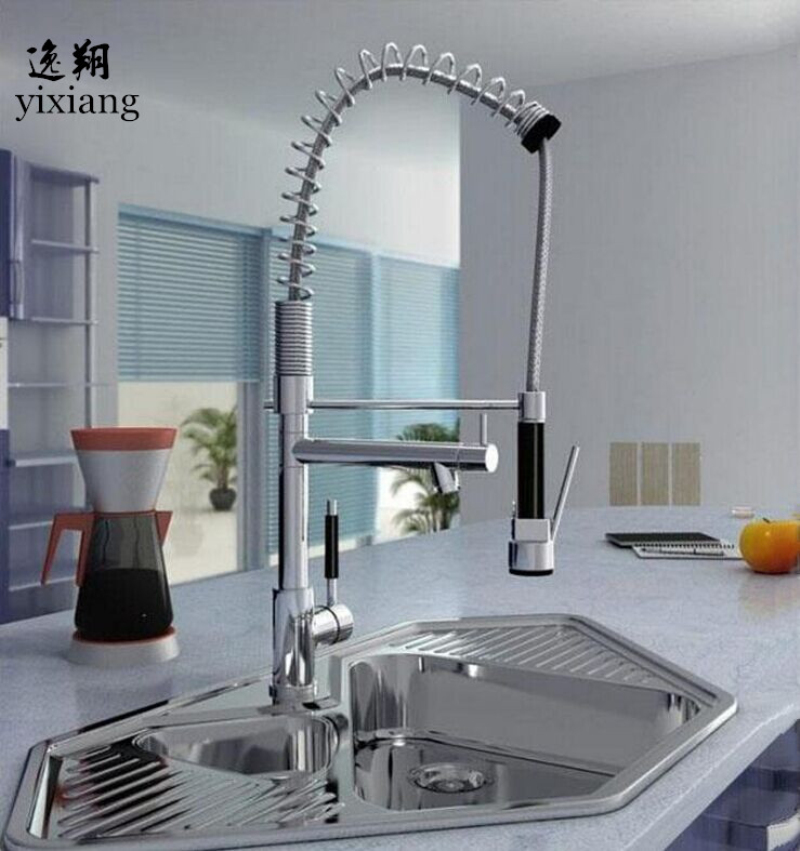 Chrome Finished put out spray Single Handle  Spout Kitchen Faucet Deck Mounted Kitchen Vessel Sink Mixer Tap good quality wholesale and retail chrome finished pull out spring kitchen faucet swivel spout vessel sink mixer tap lk 9907