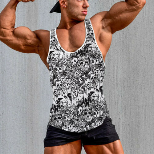 Men Slim Muscle Tank Top Shirt Casual Ribbed Sleeveless Gym Clothing Fashion A-Shirt Cool Skulls Printed Soft Summer 2019 Tops