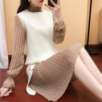 2019 spring and autumn new suit female winter two piece pullover sweater dress clothes knit bottoming vestidos
