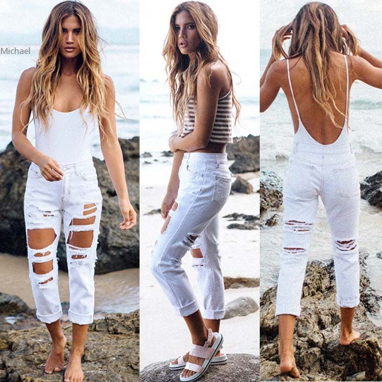 Ripped Jeans With Holes Woman American Apparel Denim Shorts Skinny Boyfriend Jean Pants Sexy font b