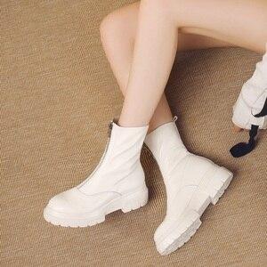 Image 4 - MORAZORA حجم كبير 34 42 جديد جودة عالية جلد طبيعي حذاء من الجلد للنساء سستة الخريف الشتاء منصة الأحذية أحذية نسائية