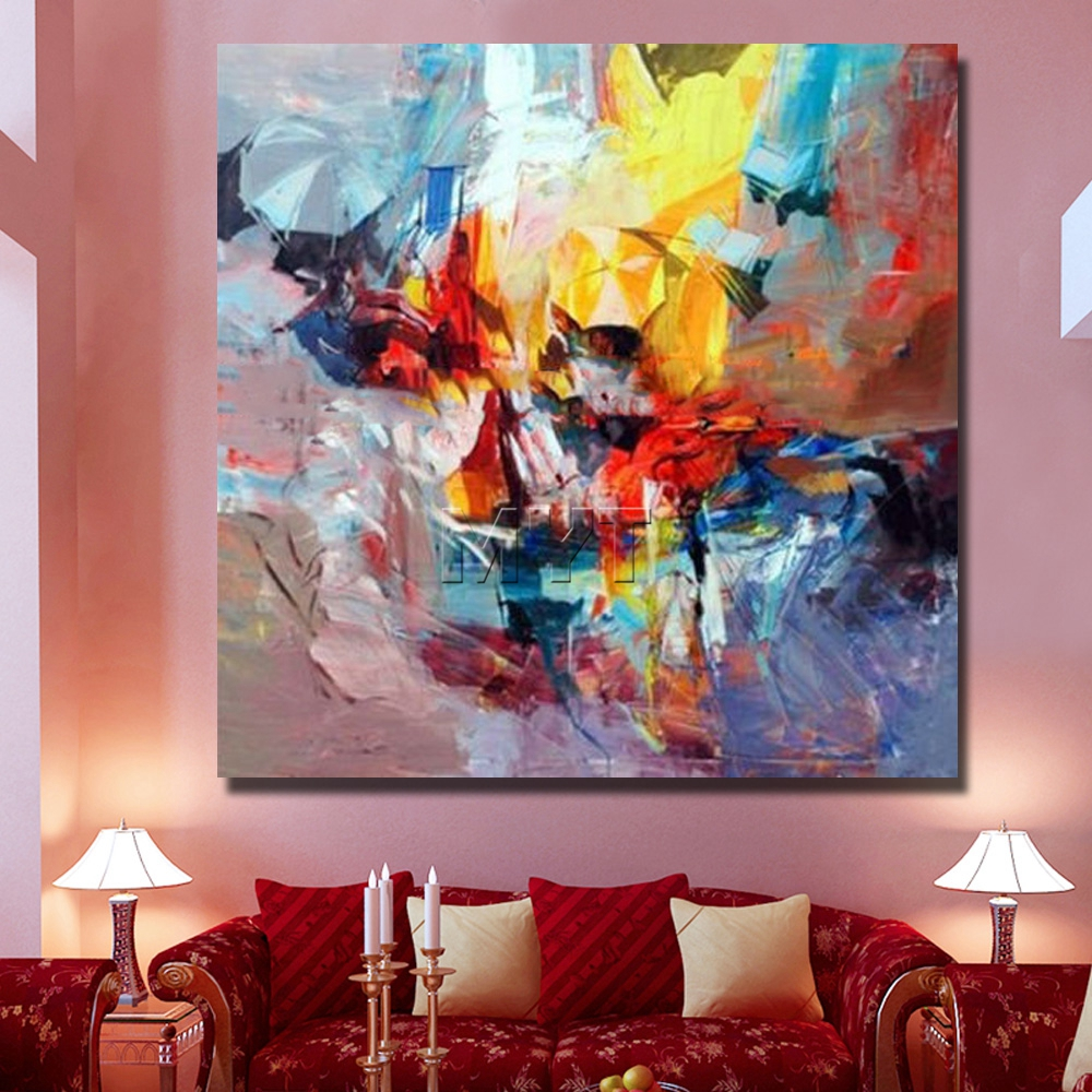 Living room oil paintings - Aliexpress Com Buy Beautiful Oil Paintings On Canvas Modern Abstract Paintings Living Room Wall Modern Artwork Pretty Color Wall Decor From Reliable Oil