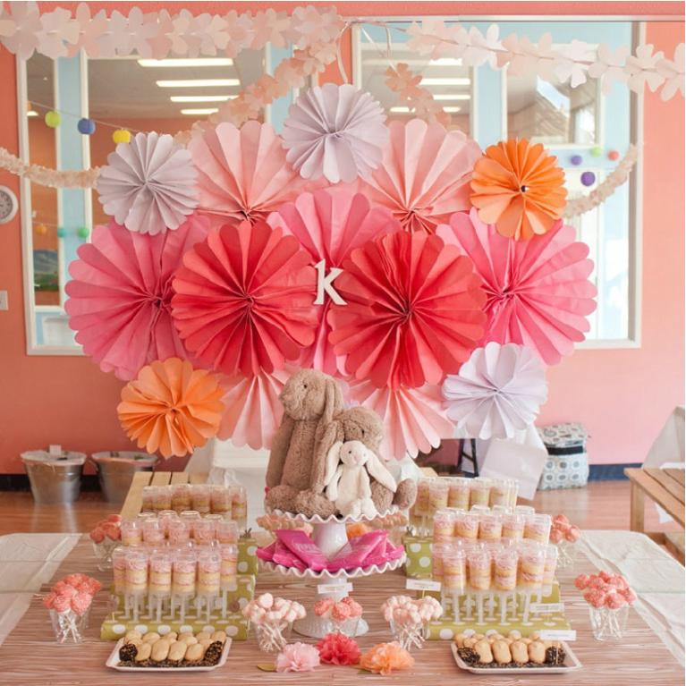10pcslot 20cm event party supplies baby shower birthday wedding party decorations kids cheap paper flower fans nursery - Cheap Decorations