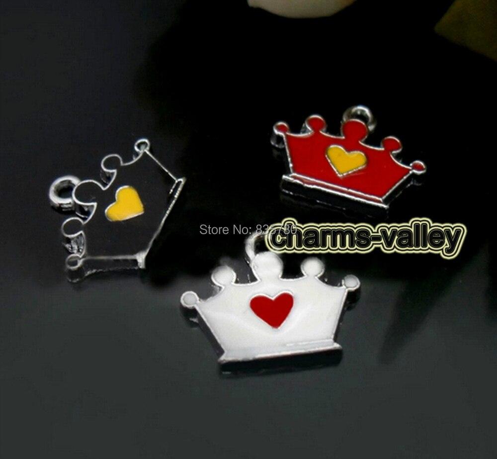 Free Shipping! 50PCS  Enamel Mixed Color Crown Hang Pendants Hang Tags Fit Key Rings, Necklaces