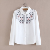 Shirt Female Cotton Long Sleeve White Shirt Snow Pattern Embroidered Female