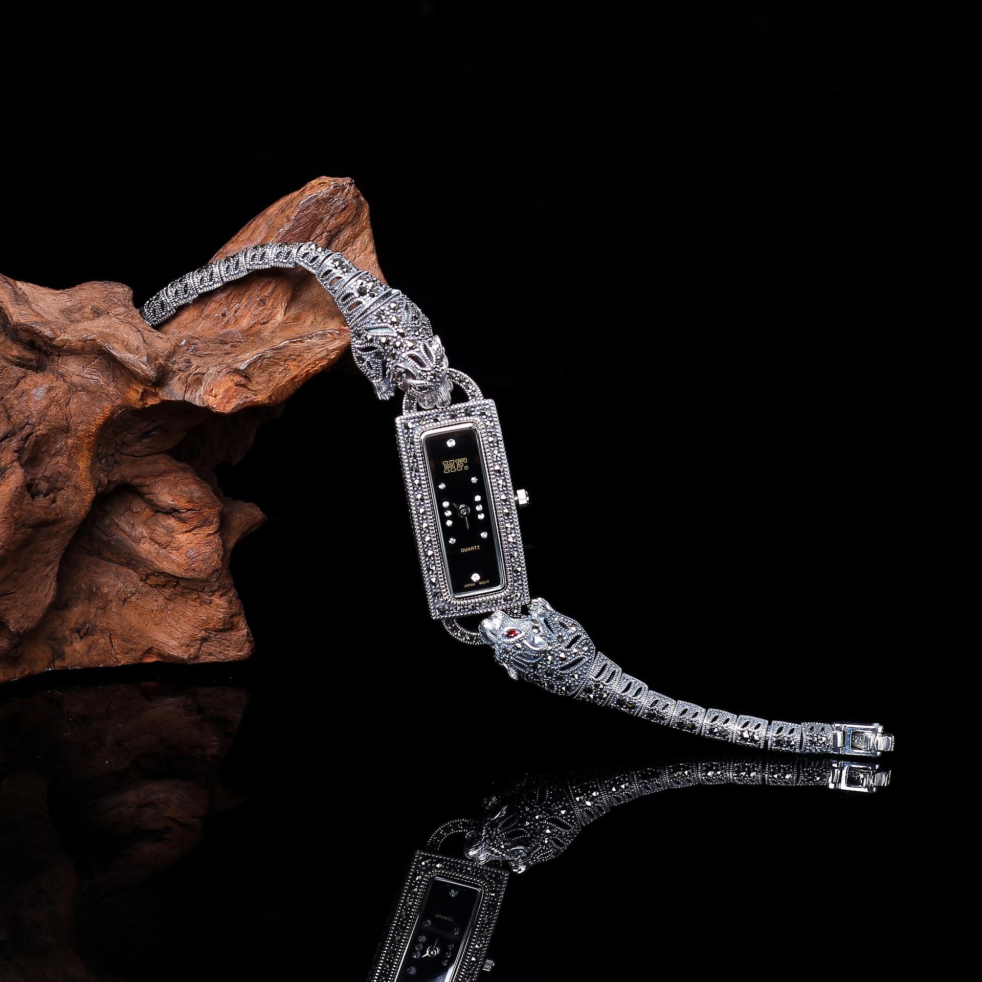 Vintage Thai Silver S925 Sterling Silver Jewelry Thailand Craft Jewelry Silver Ladies Leopard Watch Bracelet