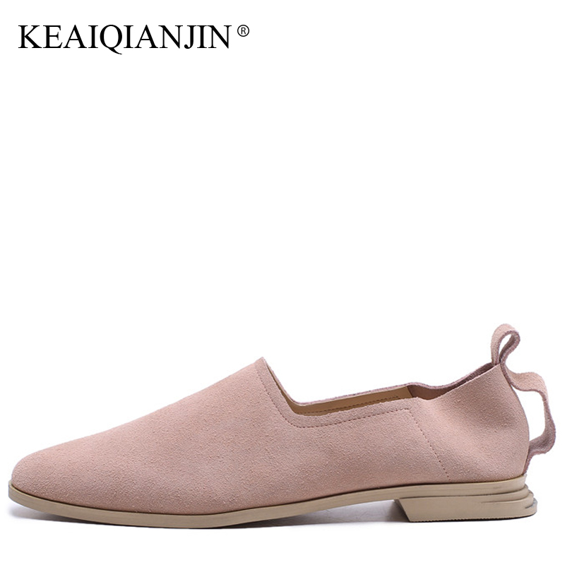 KEAIQIANJIN Woman Casual Platform Shoes Fashion Spring Autumn Genuine Leather Black Pink Flats Shallow Sheepskin Loafers 2018 lovexss casual oxford shoes fashion metal decoration shallow shoes black purple genuine leather flats woman casual oxford shoes