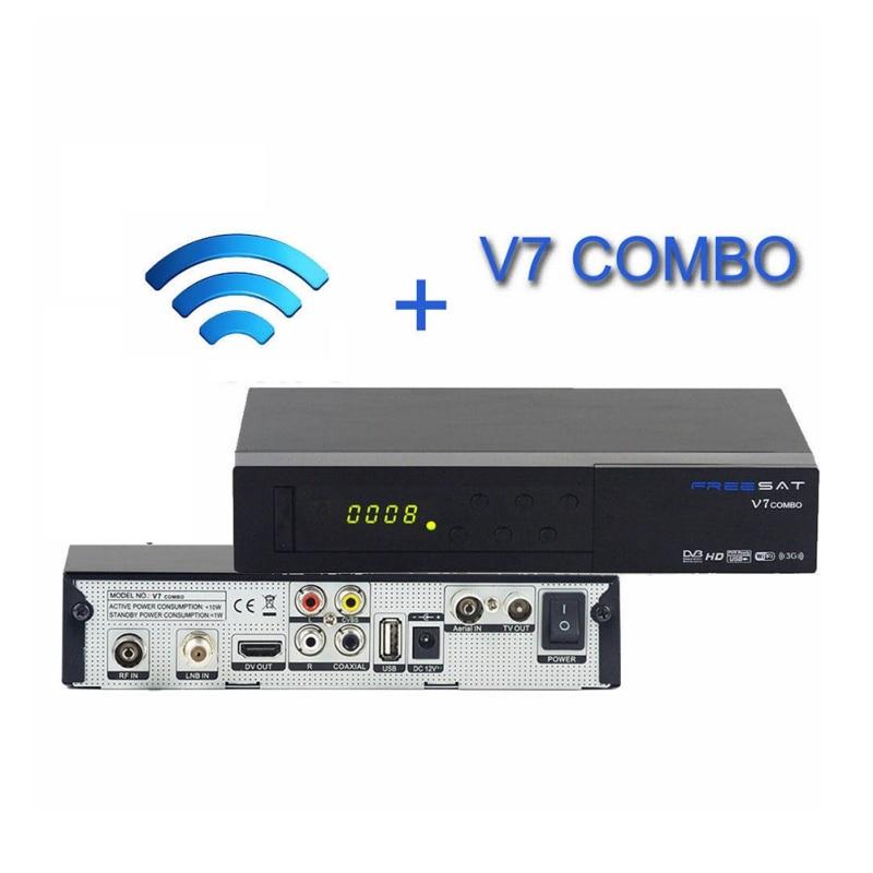 ФОТО For V7 DVB Combo DVB-S2 DVB-T2 Satellite Receptor Terrestrial Decoder with Europe CCcam 3 Cline and USB WIFI Device