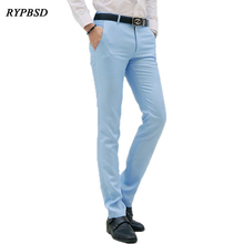 Casual Pants Men Classic Brand Fashion Slim Fit Dress Flat Suit Mens Trousers Formal Business Cotton Clothing for Male Trousers
