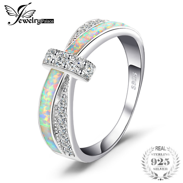 JewelryPalace Fashion Opals Crossover Band Ring 925 Sterling Silver Best Gift For Girlfriend Birthday Present 2018 Hot Selling