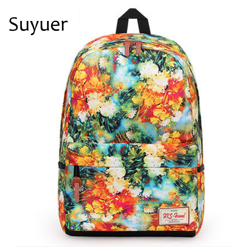 Suyuer 2017 Brand Floral Printed Girls Polyester Backpack 3D Fancy Leaf Teenager School Book Bag Women