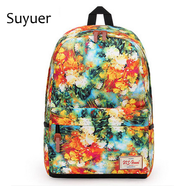 Suyuer 2017 Brand Fl Printed S Polyester Backpack 3d Fancy Leaf Ager School Book Bag Women