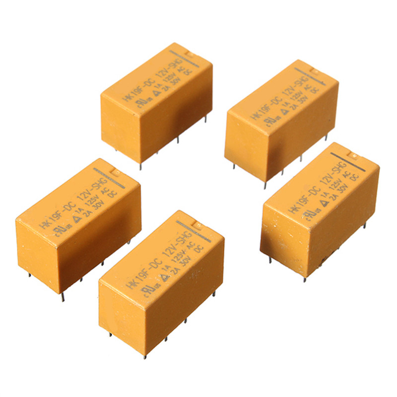 5x DC 12V Coil DPDT 8 Pin 2NO 2NC Mini Power Relays PCB Type HK19F 2 x 0.9 x 1.5 cm Wholesale  Integrated Circuits Power Relay цена и фото