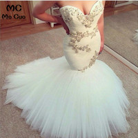 2018 Luxuries Mermaid Wedding Dresses Sweetheart Vintage Appliques Beads White Tulle Women Wedding Gown