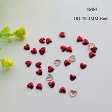 200 шт милый 4 мм дизайн ногтей красное сердце металлические шпильки украшения для ногтей