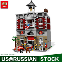 LEPIN Block 15004 2313Pcs City Street Creator Fire Brigade Model Building Kits Blocks Bricks Compatible