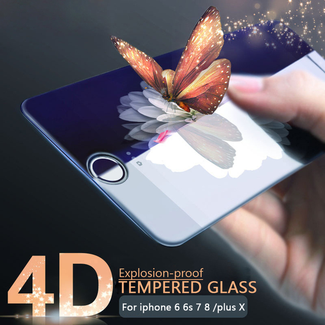 ESVNE Curved Edge Glass For iPhone 7 Glass 7 Plus Tempered Glass iphone 7 screen protector Full Cover Film Safety Case