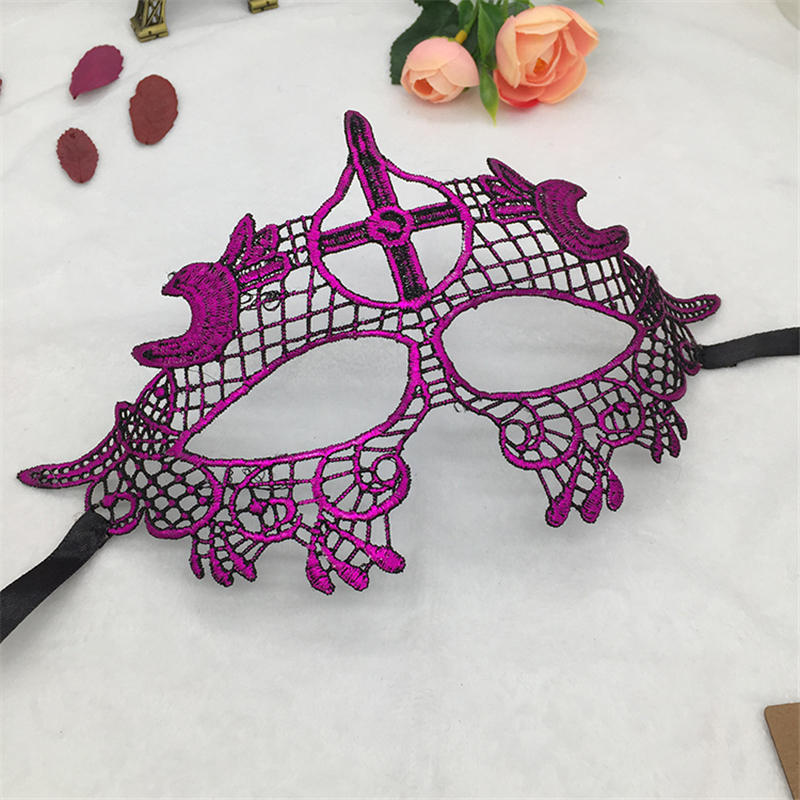 Фиксированная форма, Дамская Сексуальная Маскарадная маска из кружева для карнавала, Хэллоуина, выпускного вечера, Вечерние Маски, фиолетовые, горячее тиснение#35 - Цвет: PM027TZ
