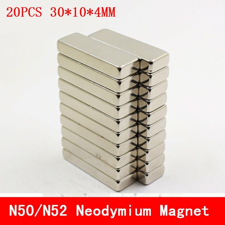 Hot Useful 20PCS N50 N52 Neodymium Magnet 30 x 10 x 4 mm Bulk Super Strong Strip Block Bar Magnets Rare Earth
