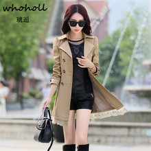 Whoholl Trench Coat For Women 2018 Fashion Turn-down Collar Double Breasted Cont