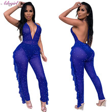 Adogirl Sexy Pearls Ruffles Sheer Mesh Jumpsuit Women Casual Deep V Neck Backless Halter Party Club Romper Female Bodysuit