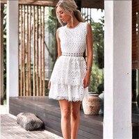 Plus Size 2018 Women Summer Backless Lace Dress Casual Sexy Elegant Fashion Praty White Dress