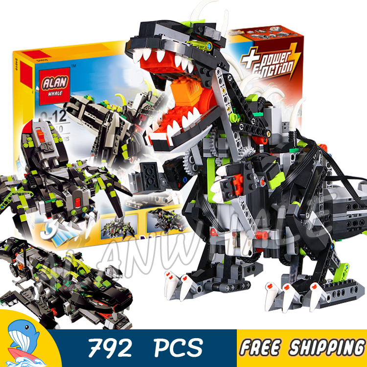792pcs Creator 3in1 Monster Dino 24010 Walking Spider Crocodile Model Building Blocks Electric Dinosaur Toy Compatible With Lego
