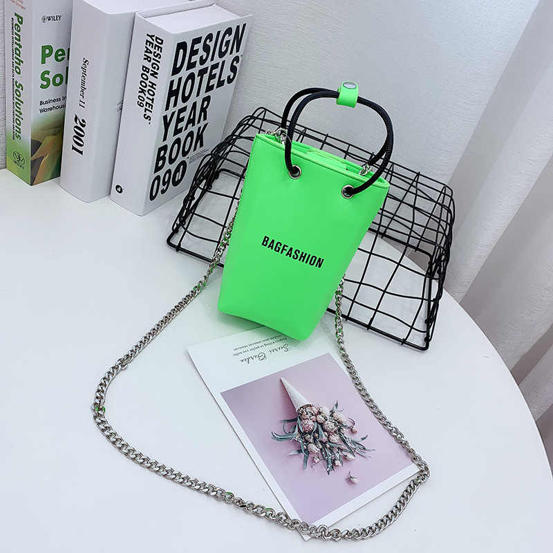Saco de balde de corrente tendência cor fluorescente saco mulher pequena sacos de ombro moda carta bolsa feminina couro sacos do mensageiro