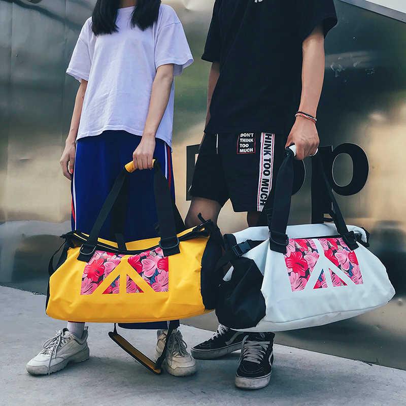 Bunga Dicetak Tas Hip Hop Fashion Tote Tas Wanita Pria Tas Travel Kapasitas Besar Harajuku Atas Pegangan Tas Tangan