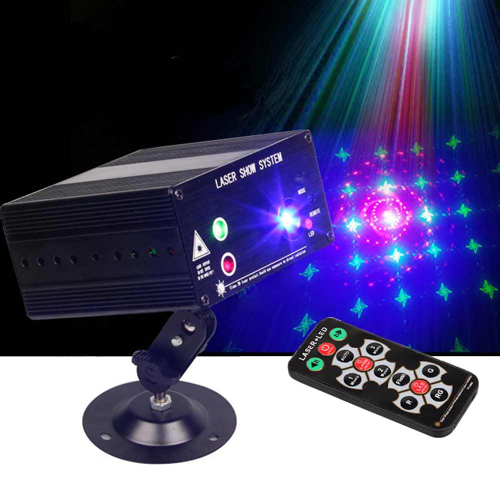 Mini Led Rgb Home Stage Lighting Effect DMX Laser Projector With Remote Lumiere Disco Lights Dj Party Stage Light UK Plug transctego 9 colors 27w crystal magic ball led stage lamp 21 mode disco laser light party lights sound control dmx lumiere laser