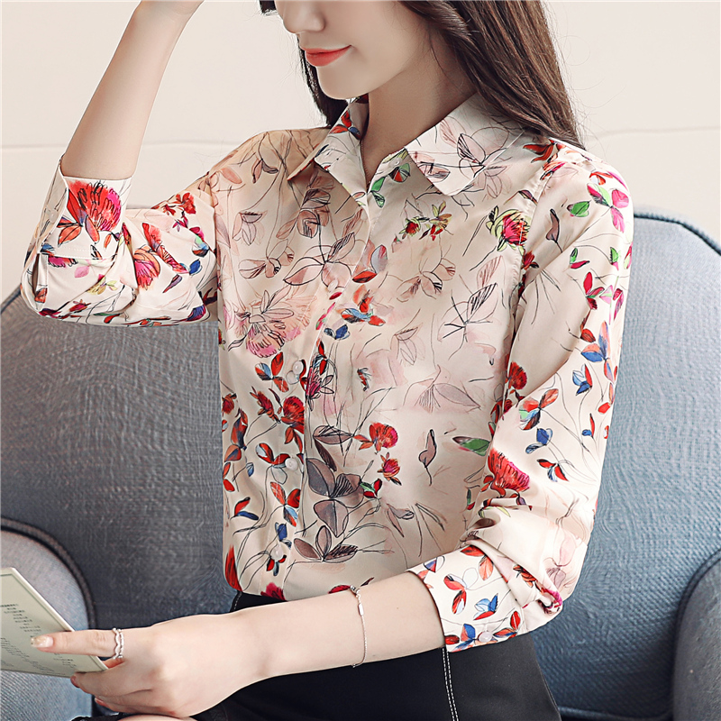 2019 New Arrived Women Blouse Floral Chiffon Blouse Temperament Loose Long Sleeve  Slim Fit  Korean Style Women Top Blusa0994 40