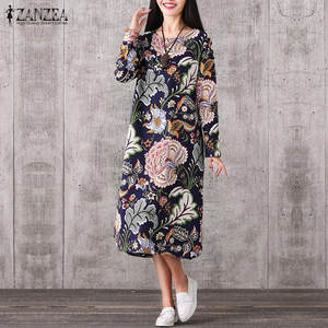 ZANZEA Women 2018 Casual Vintage Party Dresses Long Sleeve