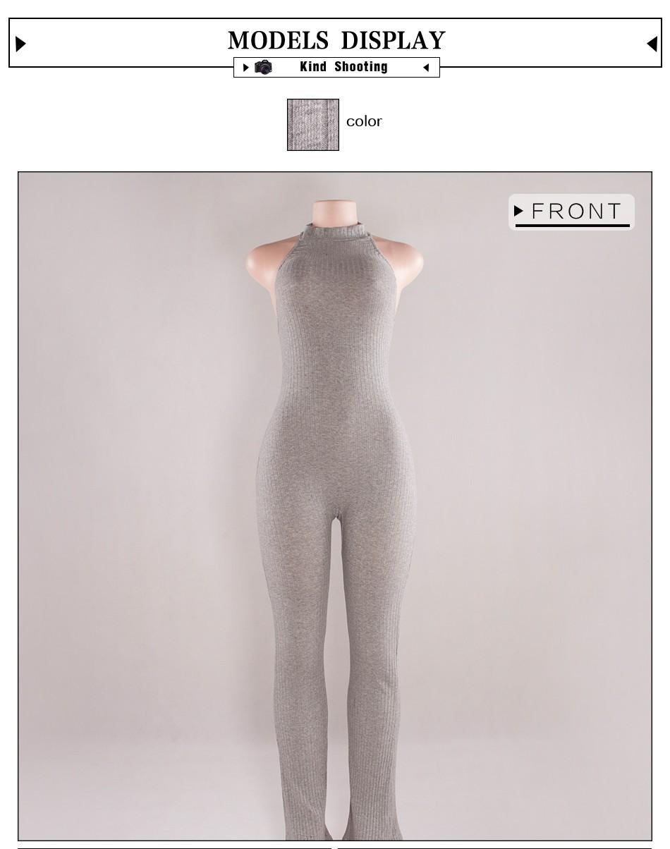 Kobiet Nowej Mody Pajacyki I Kombinezony Kobiety Sexy Backless Rękawów Kombinezony Playsuit Body Eleganckie Dzianiny 17