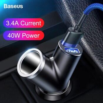 아이폰에 대 한 baseus 듀얼 usb 차량용 충전기 삼성 xiao mi mi 3.4a 빠른 충전 자동차 전화 충전기 어댑터 휴대 전화 충전기