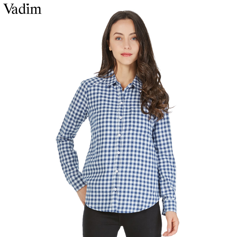 Women Checkered Small Plaid shirts Brushed blouses Blusas Femininas stand collar long sleeve work casual top ZC013
