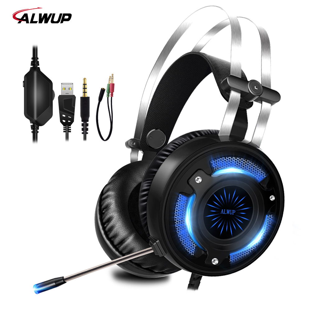 ALWUP A6 USB Gaming Headset für PS4 Xbox One PC 2,2 mt Wired Gaming Kopfhörer für Computer mit Splitter Mikrofon bunte LED