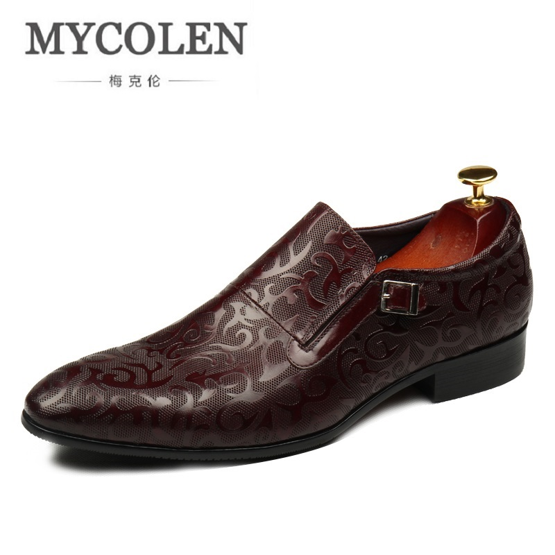 MYCOLEN Italian Fashion Breathable Men Black Brown Dress Shoes Genuine Leather Slip On Man Formal Suit Footwear With Buckle branded men s penny loafes casual men s full grain leather emboss crocodile boat shoes slip on breathable moccasin driving shoes