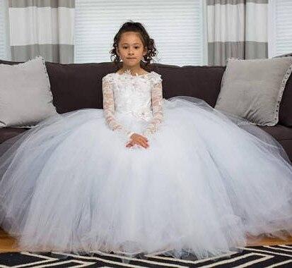 Nouvelles filles formelles porte une robe de demoiselle d'honneur personnalisée avec des Appliques florales 3D cristaux dos nu robes de première Communion Longo