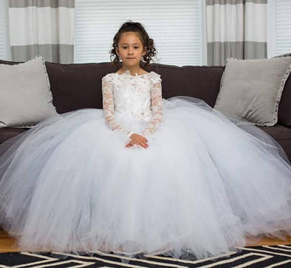 White lace flower girl dress Long Sleeves Ball Gown Girls first communion dress custom made size ветровка prada ветровка