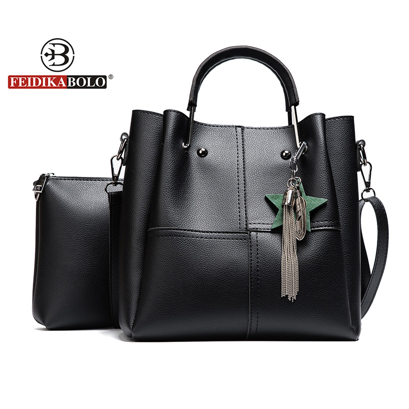 Women 2 Pcs/Set Handbags Female Tote Bag Tassel Women Solid Shoulder Bags Women High Quality PU Leather Handbag Composite Bag jooz brand luxury belts solid pu leather women handbag 3 pcs composite bags set female shoulder crossbody bag lady purse clutch