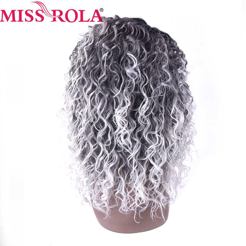 Miss Rola волосы короткие синтетические парики Кудрявые Кружева передние парики для черных женщин термостойкие Ombre 1B/Серый Бесплатная доставка