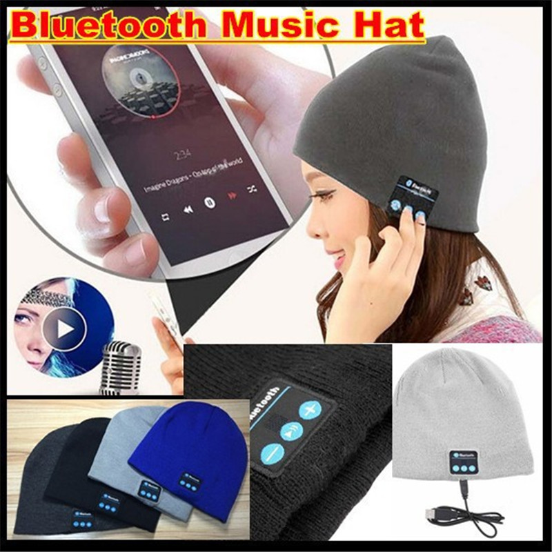 200pcs! Bluetooth V4.2 Beanie Knitted Winter Hat Headset Hands-free Mp3 Speaker Mic Magic Music Smart Cap For Boy&Girl&Man&Women