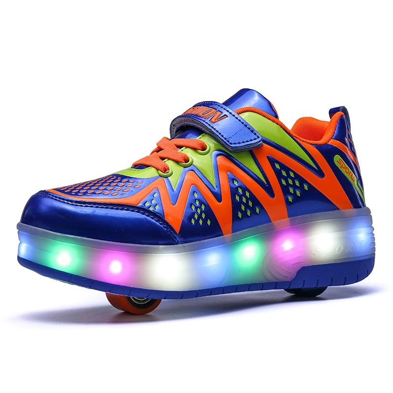LED Light Sneakers with TWO Wheel Heelys Boy Girl Roller Skate Casual Shoe with Roller Girl Zapatillas Zapatos Con Ruedas BULELED Light Sneakers with TWO Wheel Heelys Boy Girl Roller Skate Casual Shoe with Roller Girl Zapatillas Zapatos Con Ruedas BULE