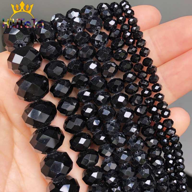 Preto facetado Rondelle Contas de Cristal de Vidro Soltos Spacer Beads Para Fazer Jóias Pulseira DIY Colar Vertentes 4/6/ 8/10/12/14mm