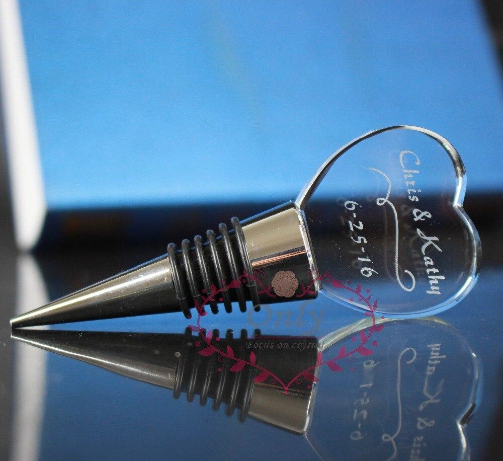 50 шт./лот, Гравировальный стеклянный в форме сердца, винная пробка, подарок на свадьбу