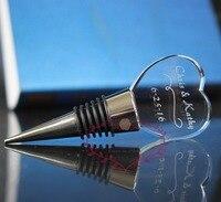 50 pcs/Lot Custiomized Groombride et Mariée Nom Gravure Cristal En Verre Coeur Forme Vin Bouchon De Faveur De Mariage Cadeaux pour Rafale
