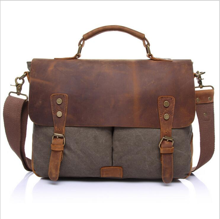 Fashion Vintage Crazy Horse Leather Canvas Men's Messenger Bag Shoulder Bag for men Canvas Casual Bag Tote Handbag WMB0181 women handbag shoulder bag messenger bag casual colorful canvas crossbody bags for girl student waterproof nylon laptop tote