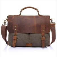 Fashion Vintage Crazy Horse Leather Canvas Men S Messenger Bag Shoulder Bag For Men Canvas Casual