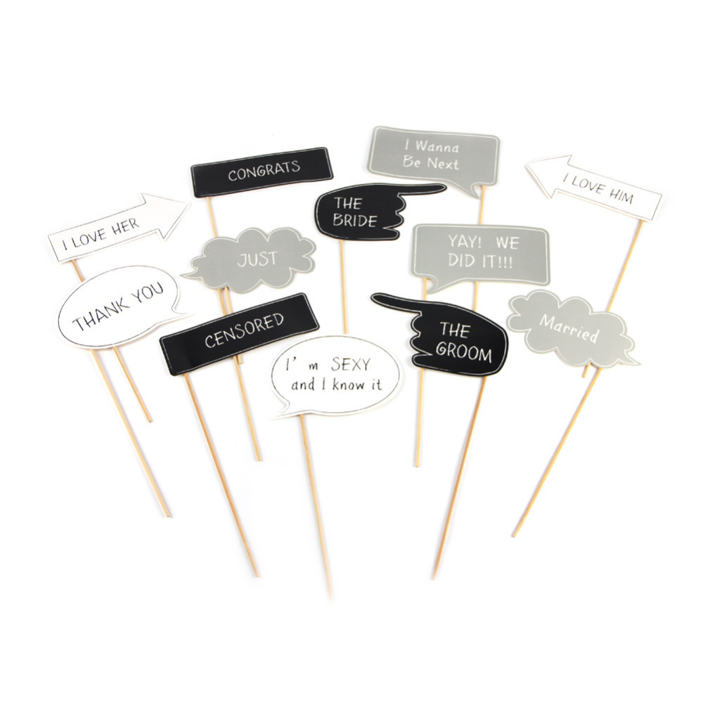 Set of 12 Wedding Photo Booth Props Kit Chalkboard...