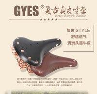 Gyes bicycle saddle leather saddle vintage bike double spring copper saddle BROOKS B67 Vintage bicycle Saddle